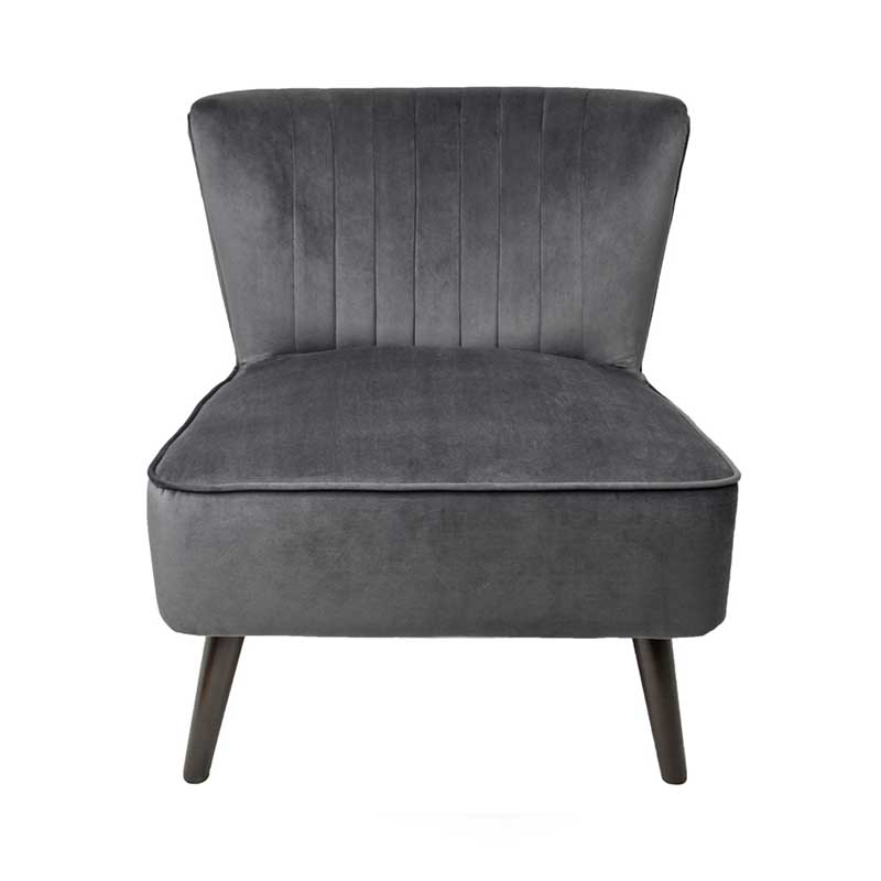 MARILYN VELVET ACCENT CHAIR - CHARCOAL